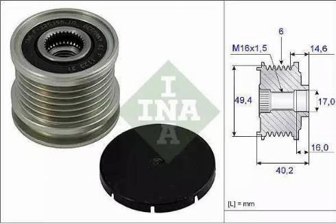 INA 535 0001 10 - Ģeneratora brīvgaitas mehānisms autodraugiem.lv