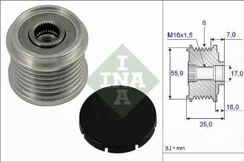 INA 535 0014 10 - Ģeneratora brīvgaitas mehānisms autodraugiem.lv