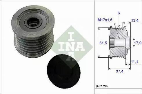 INA 535 0023 10 - Ģeneratora brīvgaitas mehānisms autodraugiem.lv
