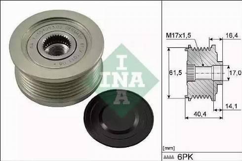 INA 535 0115 10 - Ģeneratora brīvgaitas mehānisms autodraugiem.lv