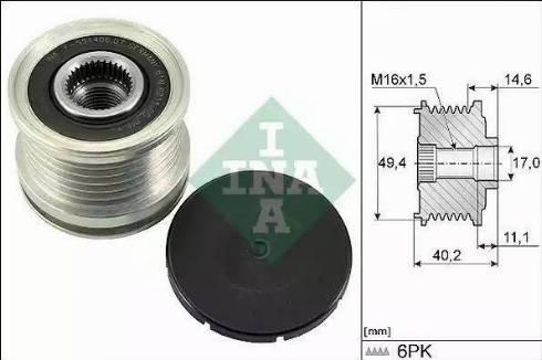 INA 535 0124 10 - Ģeneratora brīvgaitas mehānisms autodraugiem.lv