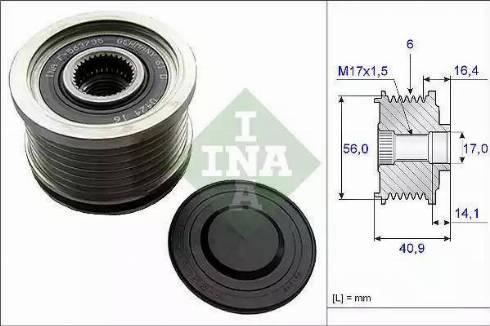 INA 535 0213 10 - Ģeneratora brīvgaitas mehānisms autodraugiem.lv