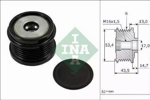 INA 535 0237 10 - Ģeneratora brīvgaitas mehānisms autodraugiem.lv
