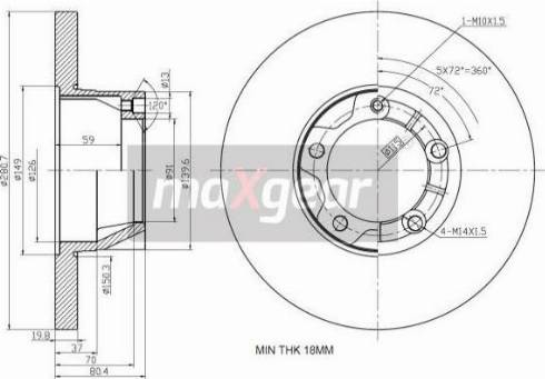 Maxgear 19-0980 - Bremžu diski autodraugiem.lv