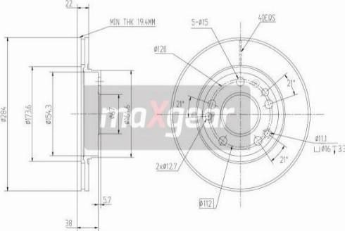 Maxgear 19-0720 - Bremžu diski autodraugiem.lv