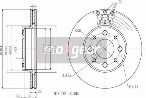 Maxgear 19-1000 - Bremžu diski autodraugiem.lv