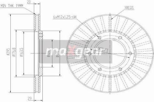 Maxgear 19-2608 - Bremžu diski autodraugiem.lv