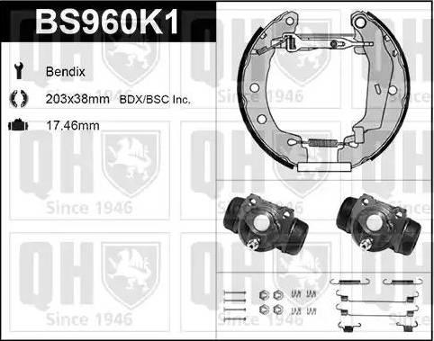 Quinton Hazell BS960K1 - Bremžu komplekts, trumuļa bremzes autodraugiem.lv