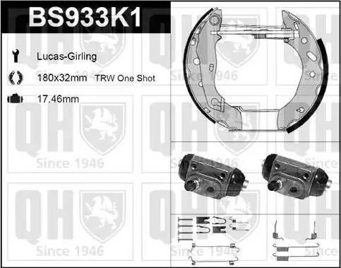 Quinton Hazell BS933K1 - Bremžu komplekts, trumuļa bremzes autodraugiem.lv