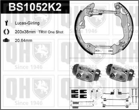 Quinton Hazell BS1052K2 - Bremžu komplekts, trumuļa bremzes autodraugiem.lv