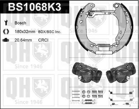 Quinton Hazell BS1068K3 - Bremžu komplekts, trumuļa bremzes autodraugiem.lv