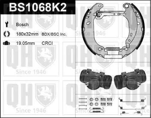 Quinton Hazell BS1068K2 - Bremžu komplekts, trumuļa bremzes autodraugiem.lv