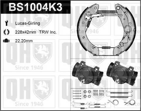 Quinton Hazell BS1004K3 - Bremžu komplekts, trumuļa bremzes autodraugiem.lv
