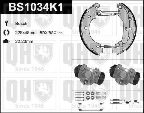 Quinton Hazell BS1034K1 - Bremžu komplekts, trumuļa bremzes autodraugiem.lv