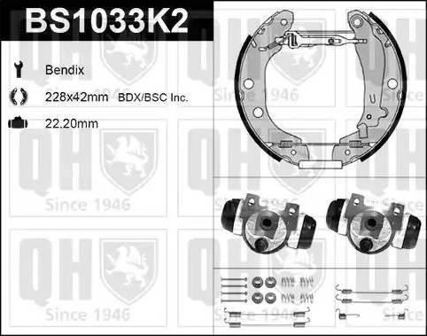 Quinton Hazell BS1033K2 - Bremžu komplekts, trumuļa bremzes autodraugiem.lv