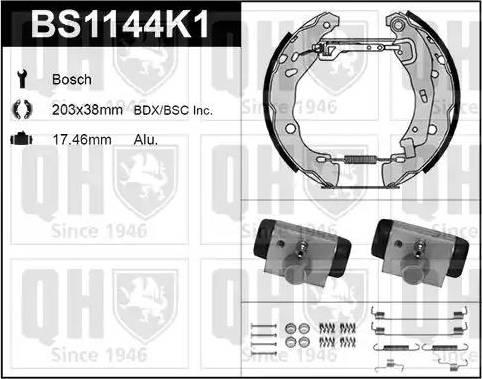 Quinton Hazell BS1144K1 - Bremžu komplekts, trumuļa bremzes autodraugiem.lv