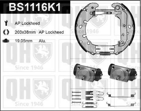 Quinton Hazell BS1116K1 - Bremžu komplekts, trumuļa bremzes autodraugiem.lv