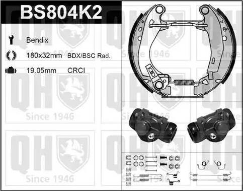 Quinton Hazell BS804K2 - Bremžu komplekts, trumuļa bremzes autodraugiem.lv