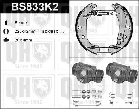 Quinton Hazell BS833K2 - Bremžu komplekts, trumuļa bremzes autodraugiem.lv