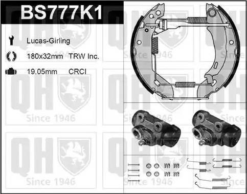 Quinton Hazell BS777K1 - Bremžu komplekts, trumuļa bremzes autodraugiem.lv