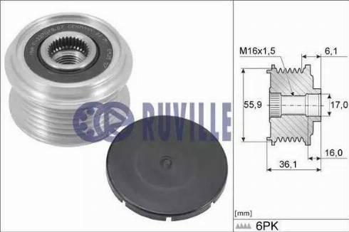 Ruville 56543 - Ģeneratora brīvgaitas mehānisms autodraugiem.lv