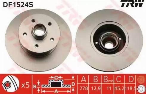 TRW DF1524S - Bremžu diski autodraugiem.lv