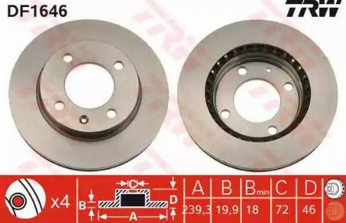TRW DF1646 - Bremžu diski autodraugiem.lv