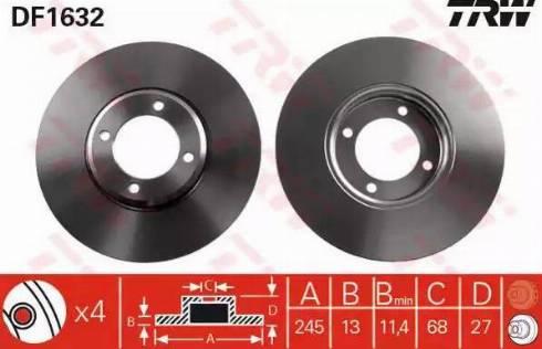 TRW DF1632 - Bremžu diski autodraugiem.lv