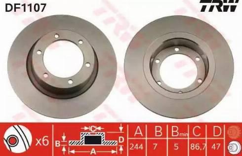 TRW DF1107 - Bremžu diski autodraugiem.lv