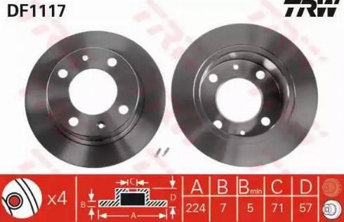 TRW DF1117 - Bremžu diski autodraugiem.lv