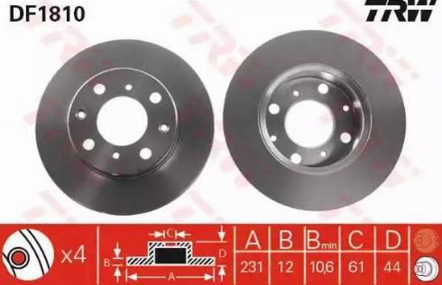 TRW DF1810 - Bremžu diski autodraugiem.lv