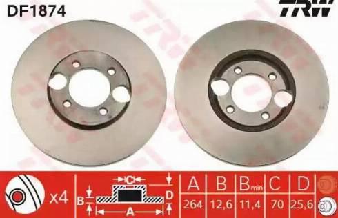 TRW DF1874 - Bremžu diski autodraugiem.lv