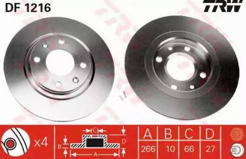 TRW DF1216 - Bremžu diski autodraugiem.lv