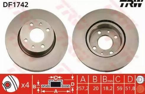 TRW DF1742 - Bremžu diski autodraugiem.lv