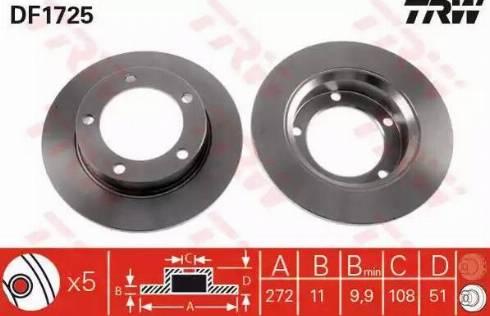 TRW DF1725 - Bremžu diski autodraugiem.lv