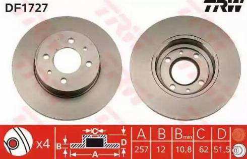 TRW DF1727 - Bremžu diski autodraugiem.lv