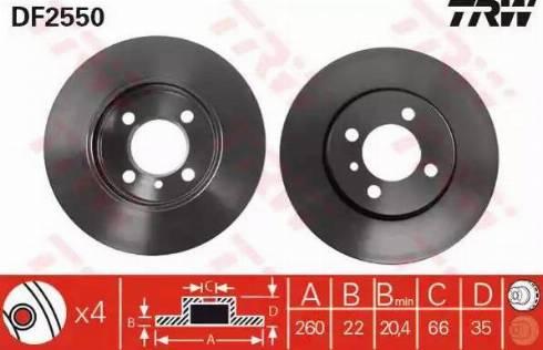 TRW DF2550 - Bremžu diski autodraugiem.lv