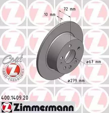 Zimmermann 400.1409.20 - Bremžu diski autodraugiem.lv