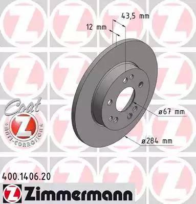 Zimmermann 400.1406.20 - Bremžu diski autodraugiem.lv