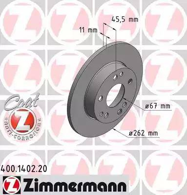 Zimmermann 400.1402.20 - Bremžu diski autodraugiem.lv