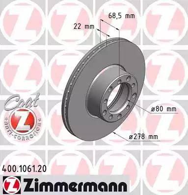 Zimmermann 400.1061.20 - Bremžu diski autodraugiem.lv