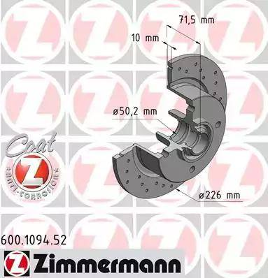 Zimmermann 600.1094.52 - Bremžu diski autodraugiem.lv