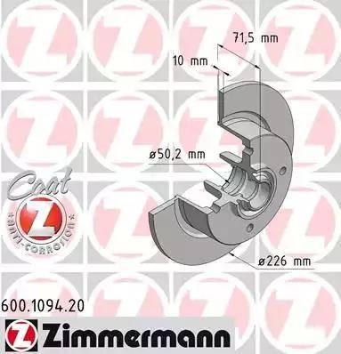 Zimmermann 600.1094.20 - Bremžu diski autodraugiem.lv