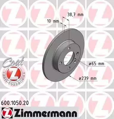 Zimmermann 600.1050.20 - Bremžu diski autodraugiem.lv