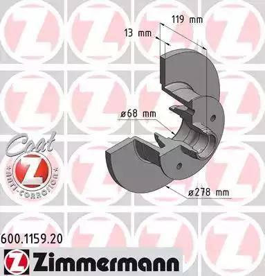 Zimmermann 600.1159.20 - Bremžu diski autodraugiem.lv