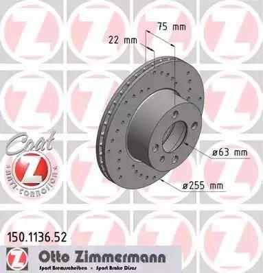 Zimmermann 150.1136.52 - Bremžu diski autodraugiem.lv