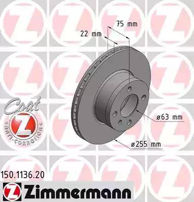 Zimmermann 150.1136.20 - Bremžu diski autodraugiem.lv