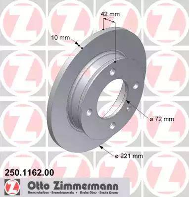 Zimmermann 250.1162.00 - Bremžu diski autodraugiem.lv