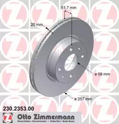Zimmermann 230.2353.00 - Bremžu diski autodraugiem.lv